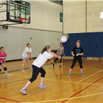 Women passing in volleyball
