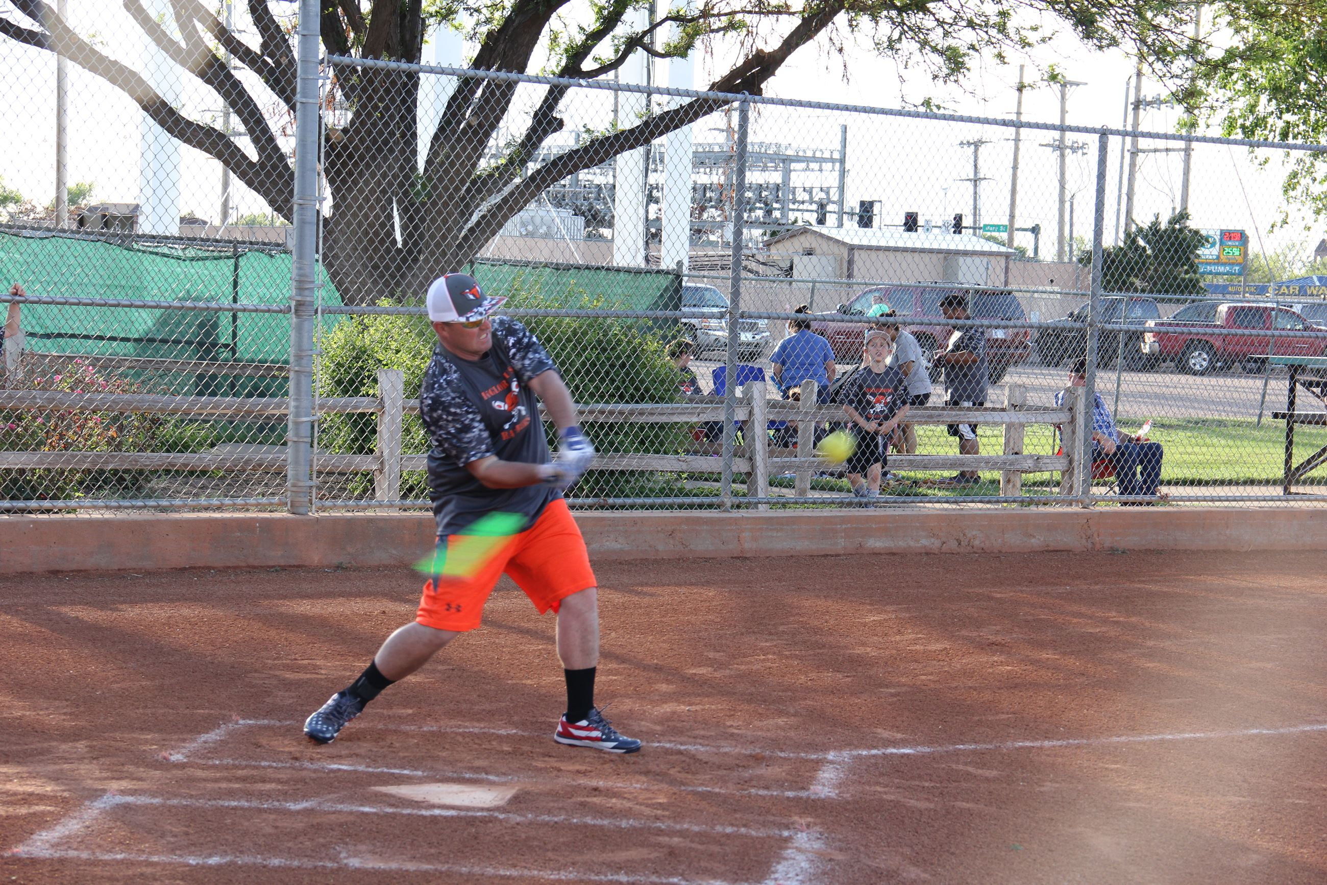 Man up to bat in softball